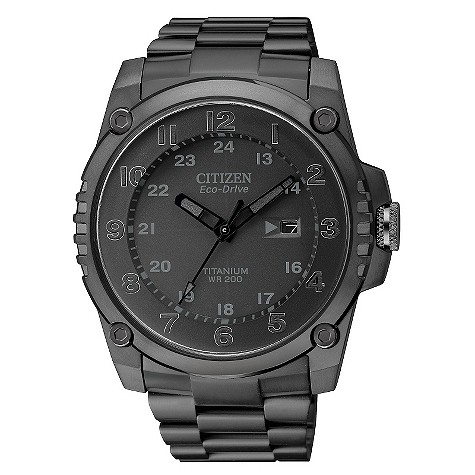 Citizen EcoDrive men&39s black ionplated titanium watch