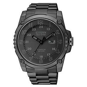Citizen Eco-Drive men's black ion-plated titanium watch - Product number 1039407