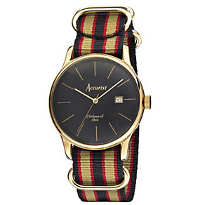 Accurist Men's Black Dial Gold Strap Watch - Product number 1039792