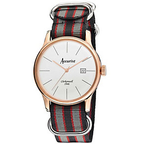 Accurist Men's Silver Dial Rose Gold Tone Strap Watch - Product number 1039814