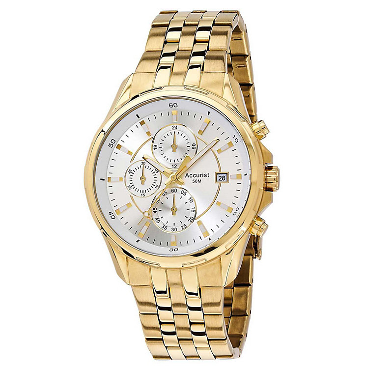 Accurist Men's Silver Dial Gold-Plated Bracelet Watch - Product number 1039830