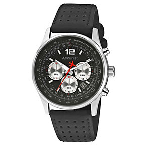 Accurist Men's Stainless Steel Black Leather Strap Watch - Product number 1039865