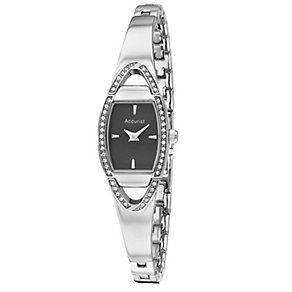 Accurist Ladies' Black Dial Stainless Steel Bangle Watch - Product number 1039873