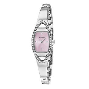 Accurist Ladies' Pink Dial Stainless Steel Bangle Watch - Product number 1039881