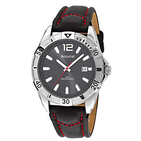 Accurist Men's Stainless Steel Black Leather Strap Watch - Product number 1039911