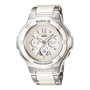 Baby-G Ladies' Stainless Steel & White Bracelet Watch - Product number 1044699