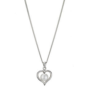 Silver pearl heart pendant necklace - Product number 1046098