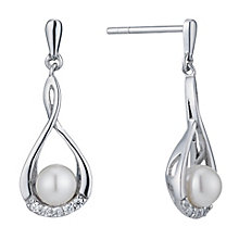 Silver cubic zirconia & cultured freshwater pearl earrings - Product number 1046128