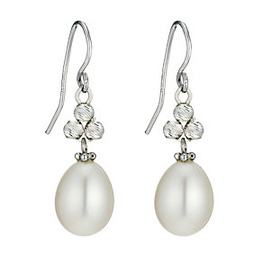 Three silver ball & freshwater pearl drop earrings - Product number 1046179