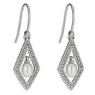 Silver diamond shape cultured freshwater pearl drop earrings - Product number 1046195