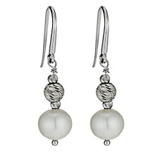 Sterling silver cultured freshwater pearl drop earrings - Product number 1046225