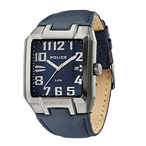 Police Men's Blue Dial Leather Strap Watch - Product number 1046268