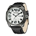 Police Men's Gunmetal Grey Black Leather Strap Watch - Product number 1046284