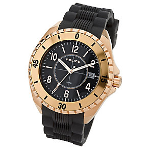 Police Miami men's rose gold-plated black PU strap watch - Product number 1046322