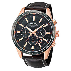 Lorus Men's Rose Gold-Plated Brown Leather Strap Watch - Product number 1046640