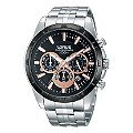 Lorus Men's Black & Rose Gold Tone Dial Steel Bracelet Watch - Product number 1046691
