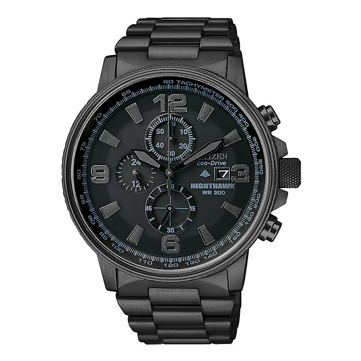 Citizen Eco-Drive Nighthawk Men's Black Bracelet Watch - Product number 1047272
