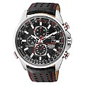 Citizen Eco Drive Red Arrows Men's Black Leather Strap Watch - Product number 1047396