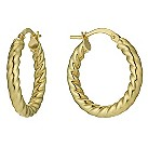 Bonded silver & 9ct yellow gold 15mm twist creole earrings - Product number 1047809