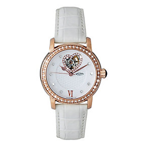 Rotary Ladies' Rose Gold Plated White Strap Watch - Product number 1047833