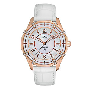 Bulova Ladies' Marino Star Solano Rose Gold Strap Watch - Product number 1048201