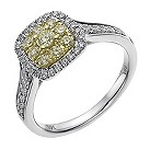18ct white & yellow gold 66pt yellow & white diamond ring - Product number 1048317