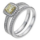 18ct white & yellow 70pt yellow & white diamond bridal set - Product number 1048589