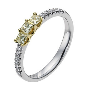 18ct white & yellow 39pt yellow & white diamond ring - Product number 1048716
