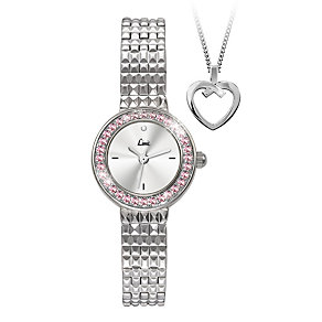 Limit Pink Crystal Silver Bracelet Watch & Heart Pendant - Product number 1054570