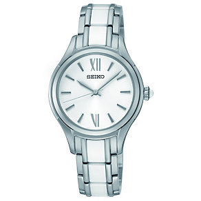 Seiko ladies' steel & white ceramic bracelet watch - Product number 1055453
