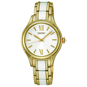 Seiko ladies' gold-plated & white ceramic bracelet watch - Product number 1055461
