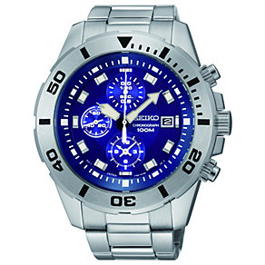 Seiko men's blue dial stainless steel bracelet watch - Product number 1055488