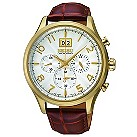 Seiko men's gold-plated mahogany leather strap watch - Product number 1055534