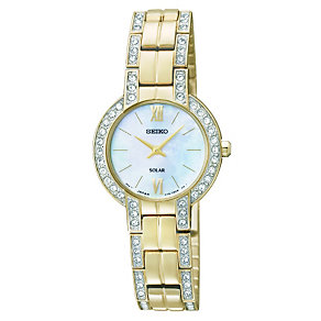 Seiko ladies' stone set gold-plated bracelet watch - Product number 1055577