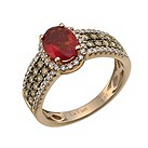 Le Vian 14ct strawberry gold diamond & fire opal ring - Product number 1056565