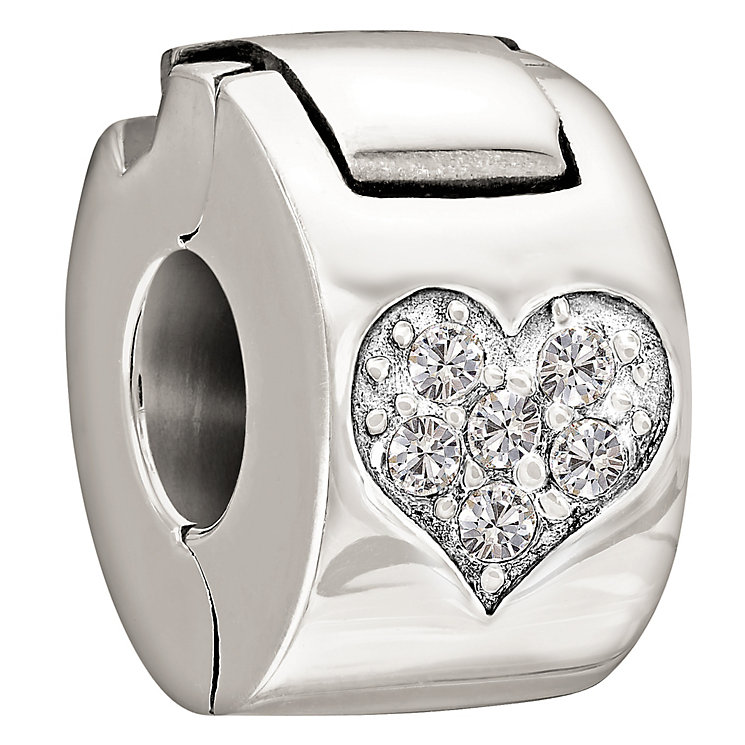 Chamilia Sterling Silver Crystal Heart Lock Bead - Product number 1060252
