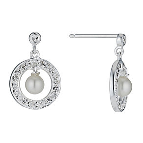 Radiance Swarovski Elements Pave Crystal Pearl Drop Earrings - Product number 1063634