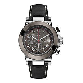 GC men's stainless steel & PVD black leather strap watch - Product number 1063928