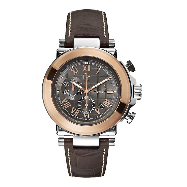 GC men's two colour brown leather strap watch - Product number 1063936