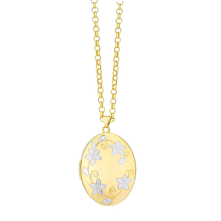 9ct Yellow Gold Two Tone 32mm Locket - Product number 1063952