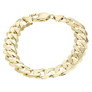 9ct Yellow Gold Mens 8.5` Solid Curb