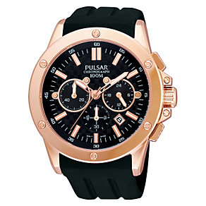 Pulsar Rose Gold-Plated Black Rubber Strap - Product number 1065815