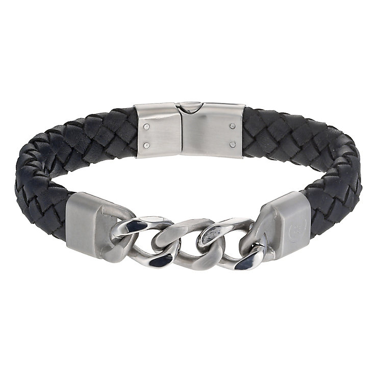 Cerruti stainless steel black leather bracelet - Product number 1066986