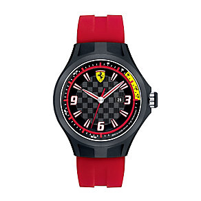 Ferrari men's ion-plated red rubber strap watch - Product number 1097377