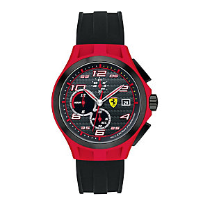 Ferrari men's black & red ion-plated rubber strap watch - Product number 1097431