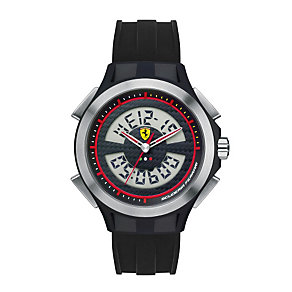 Ferrari men's stainless steel black rubber strap watch - Product number 1097458