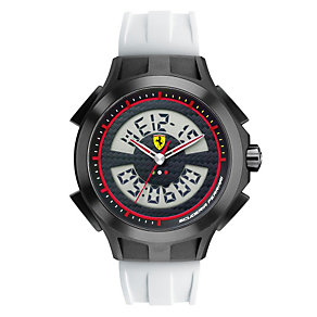 Ferrari men's digital black steel white rubber strap watch - Product number 1097466