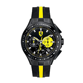 Ferrari men's ion-plated black & yellow rubber strap watch - Product number 1097490