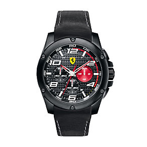 Ferrari men's ion-plated black strap watch - Product number 1097504