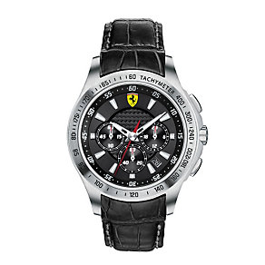 Ferrari men's stainless steel black leather strap watch - Product number 1097520